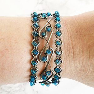 Jewelry - '00s Turquoise Beaded Cuff Bracelet